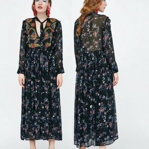 Zara boho maxi dress embroidery floral Large